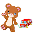 Teddy Bear Plays Toy Bus vector image