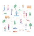 city park elements - set of modern flat design vector image