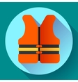 life safety jacket vest icon flat 20 vector image