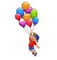 Little boy is flying on balloons vector image