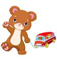 Teddy Bear Plays Toy Bus vector image
