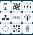 set of 9 robotics icons includes mainframe vector image