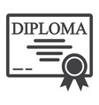 diploma line icon education and certificate vector image