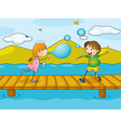 Kids playing at the bridge vector image vector image