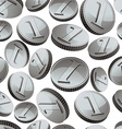 Silver coins falling seamless background vector image vector image