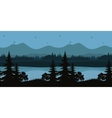 Seamless Landscape Trees and Mountain Lake vector image