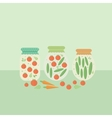 Card with glass jars preserves vector image