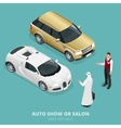 Commercially colourful cars stand in car shop vector image