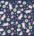 cute seamless unicorn pattern vector image