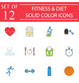 fitness and diet solid icon set healthy life vector image