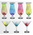 Set of transparent glass goblets with cocktails vector image