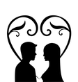 Silhouette of a woman and men in love vector image vector image
