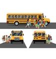 Children get on school bus vector image vector image