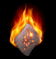 Burning stone with magic rune vector image vector image