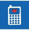 cartoon basket shopping calculator vector image