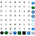 glossy media icons collection vector image