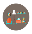 Living Room Flat Circle Icon over Brown vector image