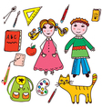 School set - kids and objects vector image