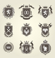 knight coat of arms and heraldic shield blazons vector image