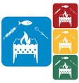 grilled fish zephyr and kebab icon vector image