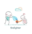 firefighter sprays water on a burning stick out of vector image vector image