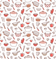Kitchenware and cooking utensils doodle red vector image