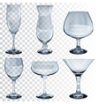 Set of empty transparent glass goblets vector image vector image