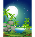 Nature scene with river at night vector image