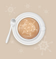 cup of cappuccino coffee with snowflake image vector image