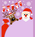 new year background card with deer and santa cla vector image