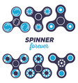 Set of different fidget spinners creative concept vector image