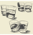 Collection of monochrome stemware vector image