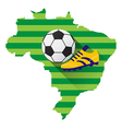 Brazil map with soccer ball vector image