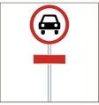 Red Sign with Car - vector image