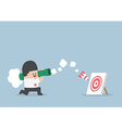 Businessman use bazooka rocket launcher destroy th vector image