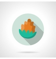Flat color fir cone round icon vector image
