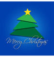 greeting card - Christmas green tree with star vector image