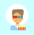 male wearing 3d glasses with popcorn emotion vector image