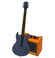 Electric guitar and the orange combo vector image
