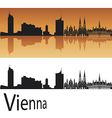 Vienna skyline in orange background vector image