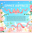 summer orchid or magnolia flowers poster vector image