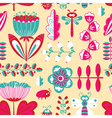 decorative seamless background with flowers bugs vector image