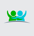 People couple logo design vector image