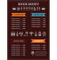 Beer Menu Template vector image