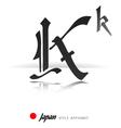 English alphabet in Japanese style - K - vector image