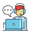 support customer service man with computer and vector image