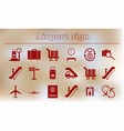 collection of airport signs travel transport set vector image