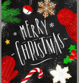poster merry christmas chalk vector image vector image