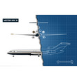 outline drawing of plane on a blue background vector image vector image