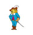 Musketeer Lion Hat Sword Cartoon vector image